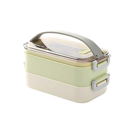1600ML 304 Stainless Steel Lunch Box Double Layer Thermal Food Container Food Storage Box with Lid for Students (Green) Best Partner For Lunch