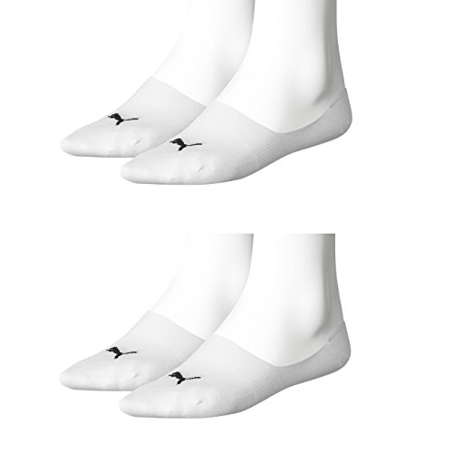 PUMA Unisex Invisible Footie Sport Socken Sportsocken 4er Pack (39-42, weiß)