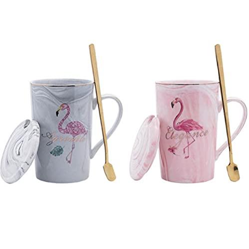 HUANGHHLL Taza De Cerámica Chapada En Oro Flamingo Milk Coffee Tea Mug con Cuchara Mango Hogar 55 Celsius Termostato De Calefacción Padoffice Mug-5_360Cm