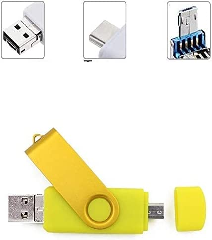YC 3 in 1 USB Flash Drive, USB Memory Stick, Multi-Function and High Speed Transmission, Type-C + USB 3.0 + OTG Photostick Compatible with CellphoneAndroidWindows PC Laptop (32GB, Yellow)