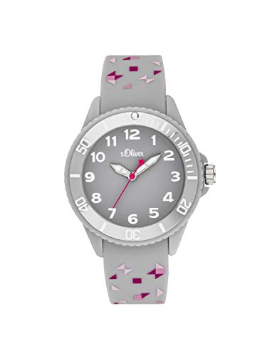 s.Oliver Mädchen Analog Quarz Uhr mit Silikon Armband SO-3922-PQ
