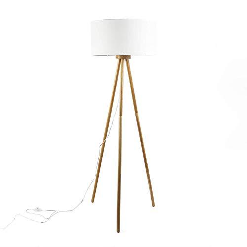 Lámpara de pie con tres patas Flora natural, diámetro de 50 cm, pantalla de tela, diseño escandinavo, desmontable