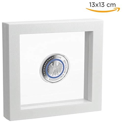 SAFE 4500 Schweberahmen weiß 13x13 cm - Münzrahmen - Münzständer 3D Rahmen weiß - Objekt Bilderrahmen für Ihre Münzen