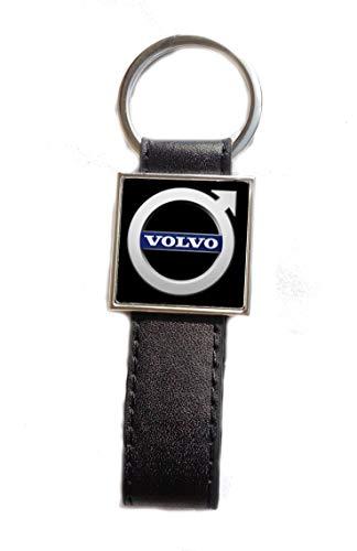 Porte-clés Acier/Simili Cuir Logo Volvo (Fond Noir)