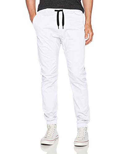 WT02 Men's Jogger Pants in Basic Solid Colors and Stretch Twill Fabric, White(NEW), Medium