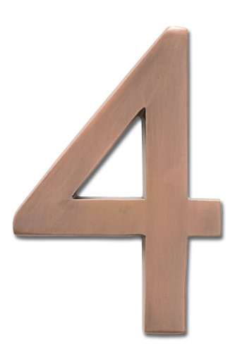 Architectural Mailboxes 3585AC-4  Brass 5-Inch Floating House Number 4, Antique Copper