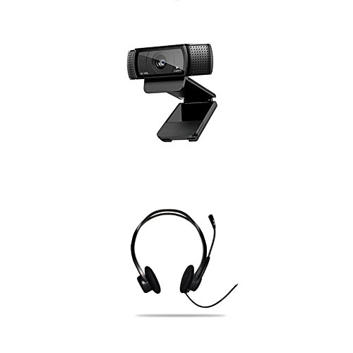 Logitech C920 HD Pro Webcam (mit USB und 1080p) schwarz + Logitech PC 960 Stereo Headset USB