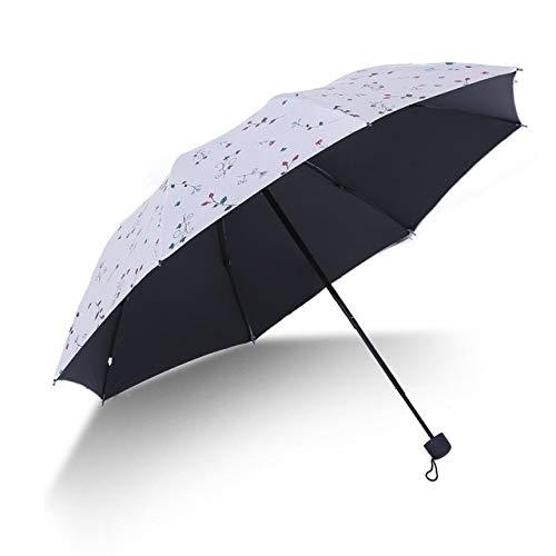 DJMJHG Paraguas de ratán de Flores Coloridas, Paraguas Plegable automático Floral lluvioso para Mujer y niña, Paraguas a Prueba de Lluvia Anti-UVBlanco