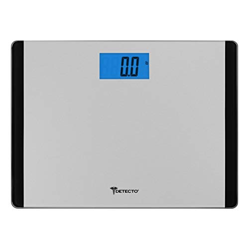 Escali Detecto D119 Low Profile Extra Wide Body Weight Bathroom Scale, Digital LCD Display, 440lb Capacity, Black and Grey
