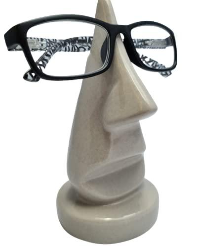 Brillenhalter | Nase | exklusiver Keramik Ständer für 1 Brille | Deko | Brillenständer | Grau Modern Brillenablage Ständer für Brillen Brillenaufbewahrung Beton-Optik