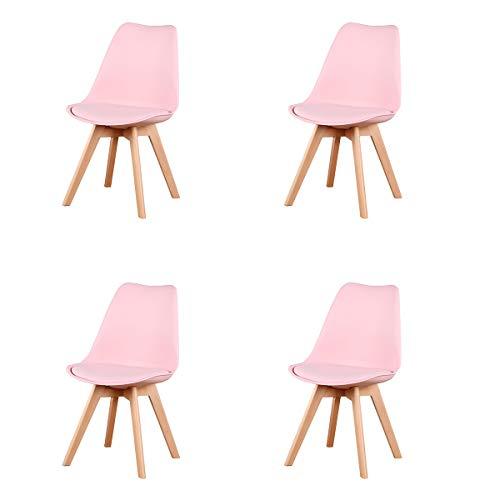 GroBKau Set di 4 Sedie da Pranzo Tulip, Sedie Imbottite da Pranzo, Sedile Imbottito Morbido, Schienale Ergonomico, Rosa
