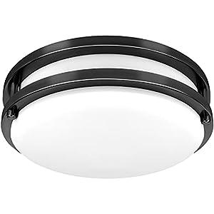 10 inch LED Flush Mount Ceiling Light Fixture, Hisoo 18W [150W Equiv] 1600 Lm, 3000-5000K Dimmable Ceiling Light Indoor for Kitchen, Bedroom, Hallway, Bathroom, ETL Listed, Upgrade