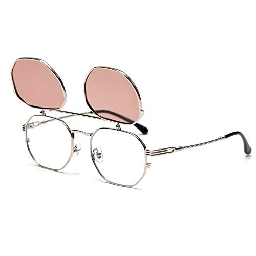 Dollger Clip on Sunglasses for Women Men Metal Steampunk Flip Up Sunglasses with Double Lenses(Gold Frame Gray Lens)