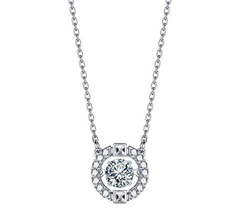 Halskette Weibliches Schlagendes Herz Sterling Silber Geschenk Rosenrot (Halskette aus Sterlingsilber).