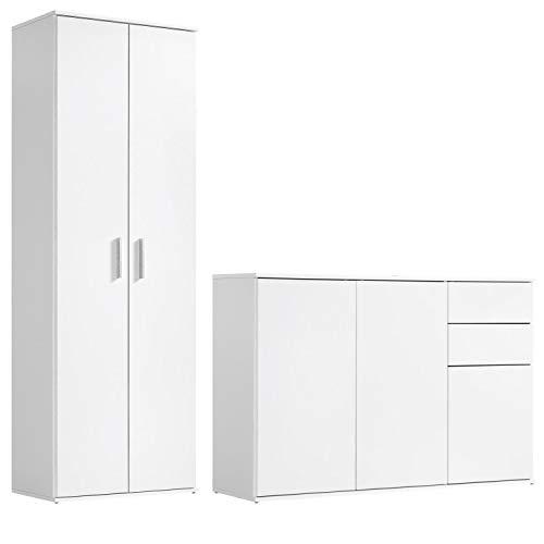 mokebo® Mehrzweckschrank Set \'Die Allzweckwaffe\', Moderne Wohnwand oder Schrank-Set, Made in Germany & klimaneutraler Versand, Weiß -11
