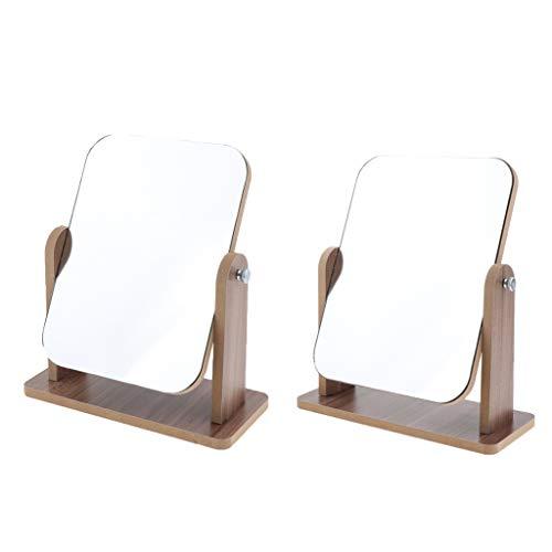 Baoblaze Miroir de Maquillage Pliable de Vanité de Table Rotation 360° En Bois, Miroir pour Rasage Salle de Bain