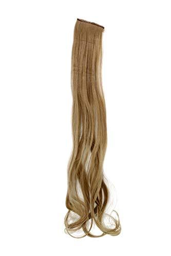 WIG ME UP - Breite Extension mit 2 Clips Strähne Haarverlängerung Haarteil Highlight wellig 63cm / 25inch Asch-Blond YZF-P2C25-16
