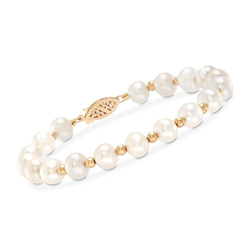 Ross-Simons 6-7mm Cultured Pearl Bracelet With 14kt Yellow Gold. 8 inches