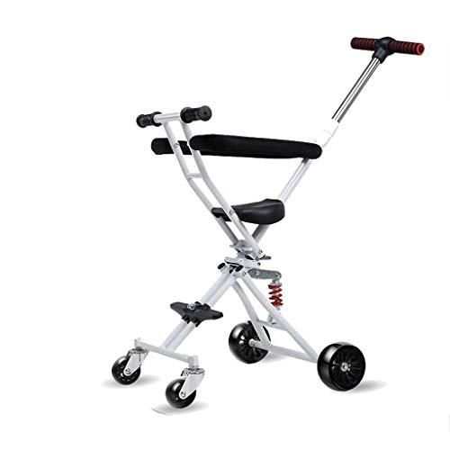 NBgycheche Triciclo Trike Carrito de niños Artefacto, 4 Rondas para niños de artefacto Plegable Ligero 1-3-6 años de Edad, Compras, Viajando Caminando (Color : Grey)