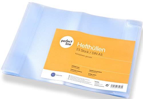 perfect line 25 Heft-Hüllen DIN-A5 transparent, Heft-Umschlag flexibel & abwischbar, Buch-Schoner mit Einband, Schutz-Hülle für Arbeit, Umschläge für Schul-Hefte