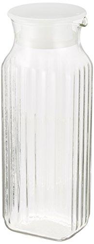 iwaki(イワキ) 耐熱ガラス ピッチャー 冷水筒 ホワイト 1L 茶こし付き 角型サーバー 麦茶 お茶 ポット KT296K-W