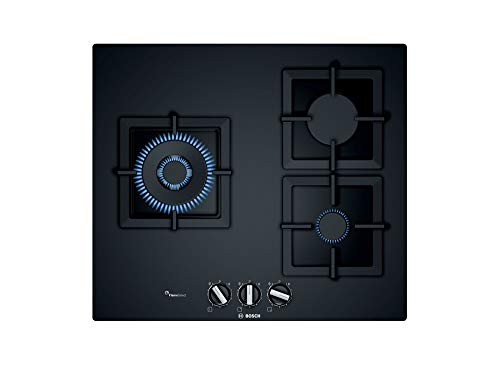 Bosch PPC6A6B20 hobs Negro Integrado Encimera de gas - Placa (Negro, Integrado, Encimera de gas, Vidrio, 1000 W, Alrededor)
