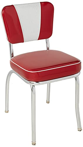 """Richardson Seating Retro V-Back Diner Chair with 2"""" Box Seat, Glitter Sparkle Red/Glitter Silver"""