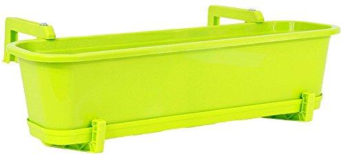 Wamat Blumenkasten mit Untersetzer und Halterungs-Set Blumentopf Balkonkasten 4 Größen 8 Farben Neu ! (80 cm, hellgrün)
