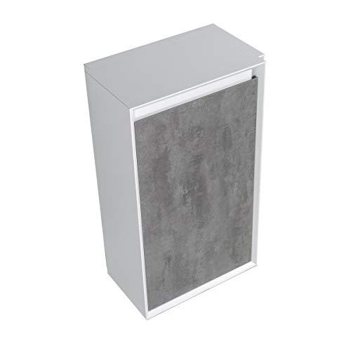 Seitenschrank Fiona - passend zum Badmöbel-Set - Beton-Optik/Eiche-Optik, Farbe Schubladenfront:Beton-Optik, Seitenschrank:Mit Seitenschrank Links