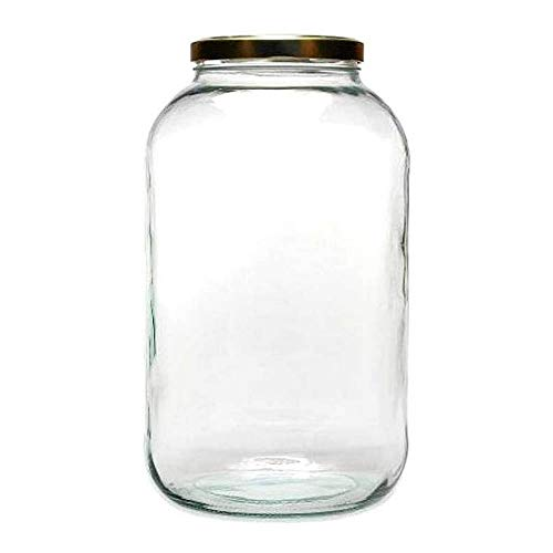 mikken XXL Einmachglas 4250ml mit Schraubverschluss, Vorratsglas Glasdose inkl. Beschriftungsetikett Vorratsdose, Glas, Gold, 15.9 x 15.9 x 27.7 cm