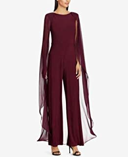 RALPH LAUREN Womens Burgundy Cape Overlay Jewel Neck Flare Evening Jumpsuit US Size: 10