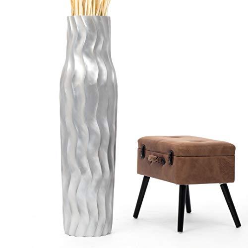 Leewadee Große Bodenvase für Dekozweige hohe Standvase Design Holzvase 112 cm, Mangoholz, Silber