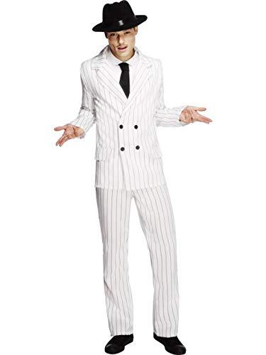 Luxuspiraten - Herren Männer Nadelstreifen Anzug Gangster Kostüm im 20er Jahre Al Capone Stil mit Jacket, Hose und Krawatte, perfekt für Karneval, Fasching und Fastnacht, L, Weiß