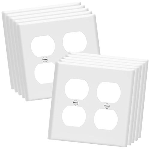 Enerlites 8822-W 2-Gang Duplex Outlet Wall Plate, Standard Size, Unbreakable Polycarbonate, White - 10 Pack