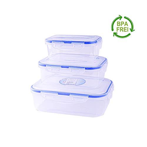 Erlliyeu Frischhaltedosen-Set, Aufbewahrungsbehälter für Lebensmittel mit Deckel, luftdicht, 3-teiliges, für Mikrowelle, Gefrierschrank und Spülmaschine (Rechteck)