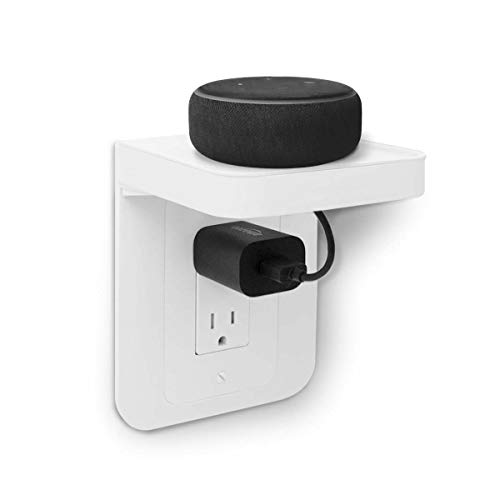 ALLICAVER Outlet Shelf, Power Perch with Built-In Cable Management, A Space Saving Solution for Google Home, Homepod Mini, Smart Speakers, Cellphones, Electric Toothbrush and More (White-decora)