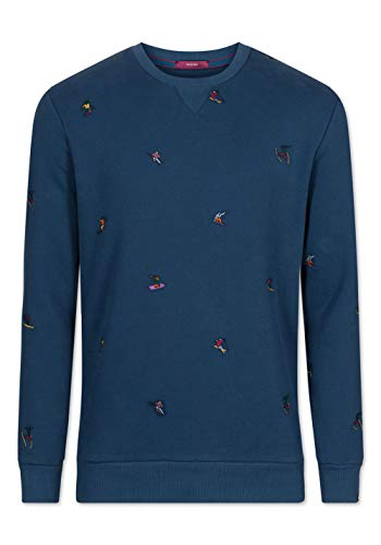 Colours & Sons Herren Sweatshirt Pedro - Stickerei, Skifahrer, Night, M