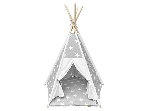 KraftKids Spielzelt-Tipi große weiße Sterne auf Grau Uniweiss, Indianer-Zelt zum Spielen für Kinder, Kleinkinder und Babys, inkl. Spielmatte