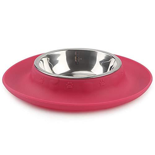Hundenapf Pet Bowl Silikon Edelstahl rutschfeste Haustiere Feeder Futter Wasserschale Langlebige Multifunktions-Hundenäpfe Für Katzen 24.3X4.5Cm Rose