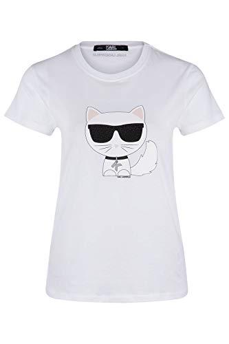 Karl Lagerfeld T-Shirt Schwarz mit Kätzchen, Weiß XS