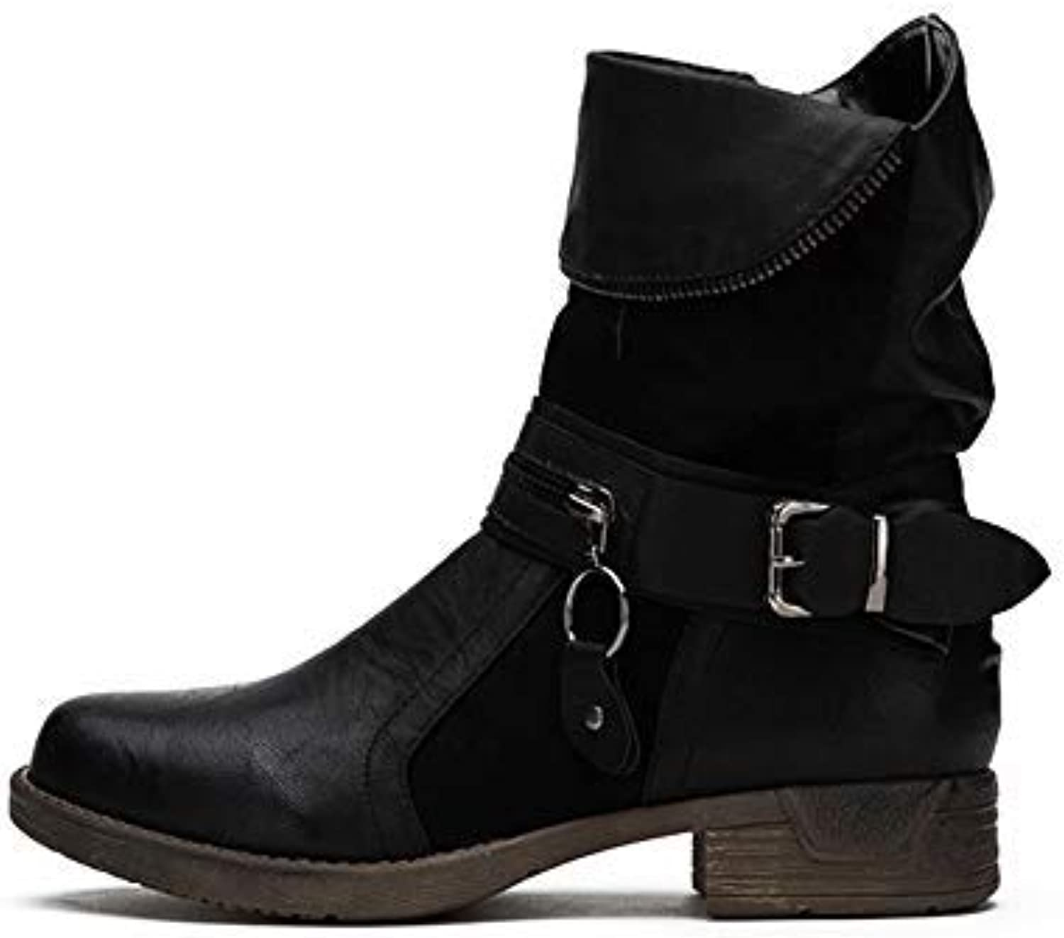 LALA IKAI Women Leather Combat Boots Low Heel Ankle Biker Boots with Side Zipper Casual shoes