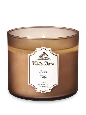 Bath & Body Works Paris Cafe White Barn Glass Scented 3 Wick Candle with Lid - Single