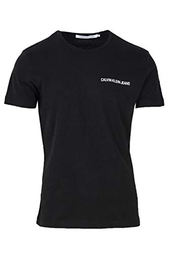 Calvin Klein Jeans Herren Chest INSTITUTIONAL Slim SS Tee T-Shirt, Schwarz (Ck Black 099), Large (Herstellergröße: L)