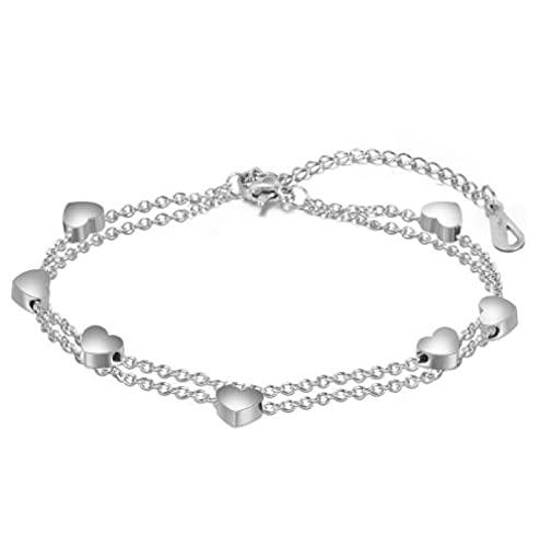 MENGHUA Pulsera de moda de amor femenino de múltiples capas de acero inoxidable pulsera de acero en forma de corazón pulsera de acero de titanio color de acero