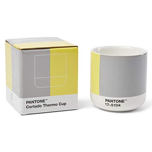Pantone doppelwandiger Porzellan-Thermobecher Cortado, ohne Henkel, 190ml, CoY 2021 Illuminating 13-0647 & Ultimate Gray 17-5104, in Geschenkbox einzeln, CoY2021