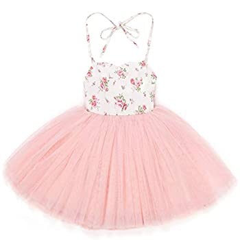 Flofallzique Baby First Birthday Outfit Summer Pink Fancy Vintage Floral Toddler Tutu for 0-10 Years Pink,1