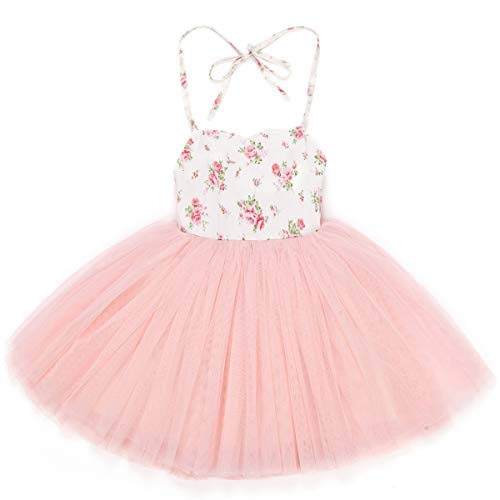 Flofallzique Pink Baby Girls Dress Infant Tutu Tulle Floral Wedding Kids Sundress(Pink,1)