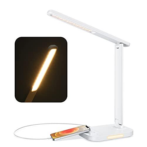 LITOM Lampara Escritorio 12W con 10 Intensidades y 5 Colores, Flexo LED Escritorio Elegante y Plegable con Cargador USB, Luz Nocturna, Temporizador de 60