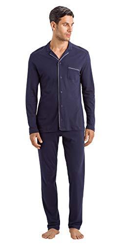 Hanro Herren Night & Day Pyjama 1/1 Arm Zweiteiliger Schlafanzug, Blau (Black Iris 0496), Large (Herstellergröße: L)