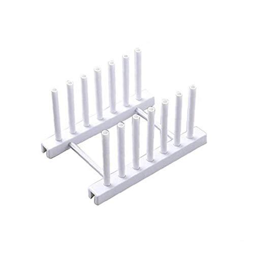 Angoter 1 PCS Küche Organizer Topfdeckel Rack-Löffel-Platten-Halter Regal Kochgeschirr Tray Rackwagen Küchenzubehör Home Storage Weiß